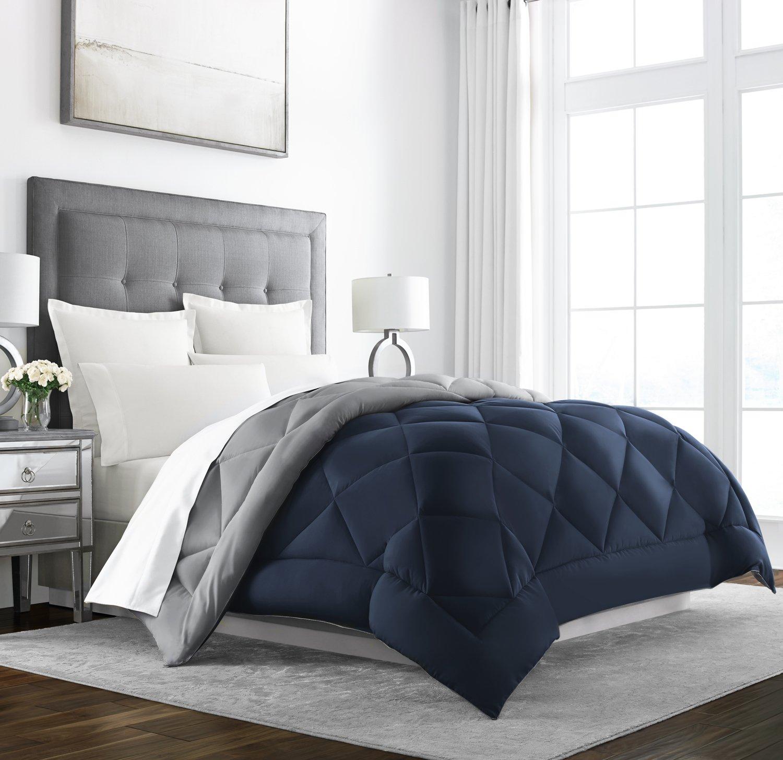 Sleep Restoration Goose Down Alternative Comforter - Reversible - All Season Hotel Quality Luxury Hypoallergenic Comforter -King/Cal King - Navy/Sleet