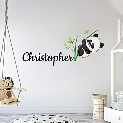 "Custom Name Panda Bear And Branches - Baby Gir/Boyl - Nursery Wall Decal For Baby Room Decorations - Mural Wall Decal Sticker For Home Children's Bedroom (MM132) (Wide 32""x14"" Height): Home & Kitchen"