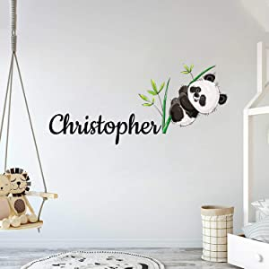 """Custom Name Panda Bear And Branches - Baby Gir/Boyl - Nursery Wall Decal For Baby Room Decorations - Mural Wall Decal Sticker For Home Children's Bedroom (MM132) (Wide 32""""x14"""" Height)"""