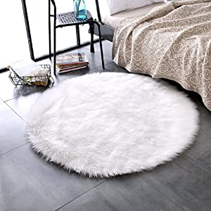 LEEVAN Plush Sheepskin Throw Round Rug Faux Fur Elegant Chic Style Cozy Shaggy Floor Mat Area Rugs Home Decorator Super Soft Carpets Kids Play Rug Ivory White, Round 3 ft Diameter