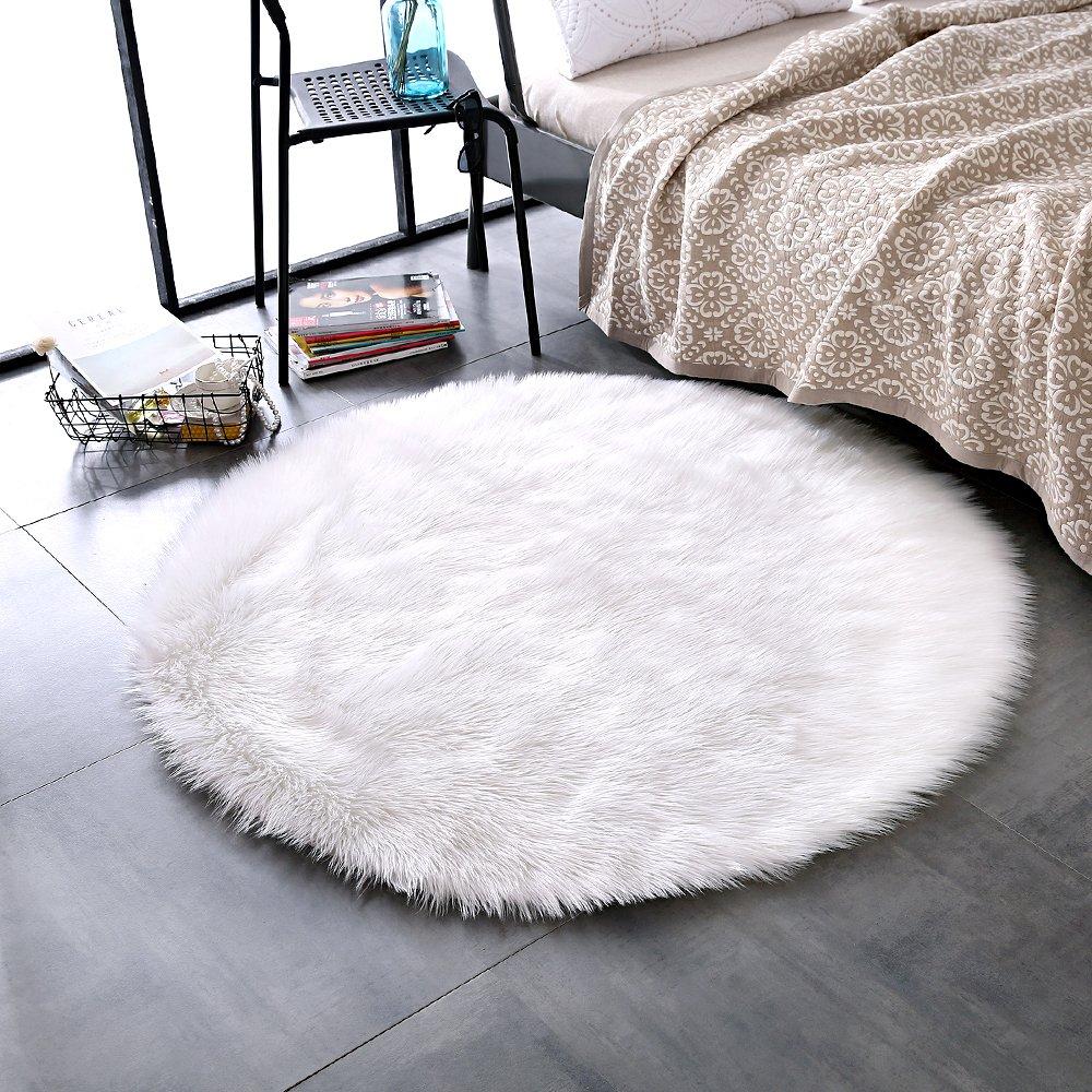 Amazon.com: LEEVAN Super Soft Faux Fur Sheepskin Rug Shaggy Rug Round Area Rugs Floor Mat Home Decorator Carpets Kids Play Rug Ivory White, 4 ft Diameter: ...