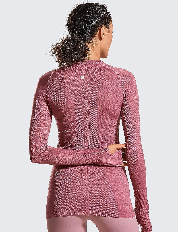 CRZ YOGA Donna Seamless Abbigliamento Sportivo Running Maglietta a Manica Lunga Casual T-Shirt
