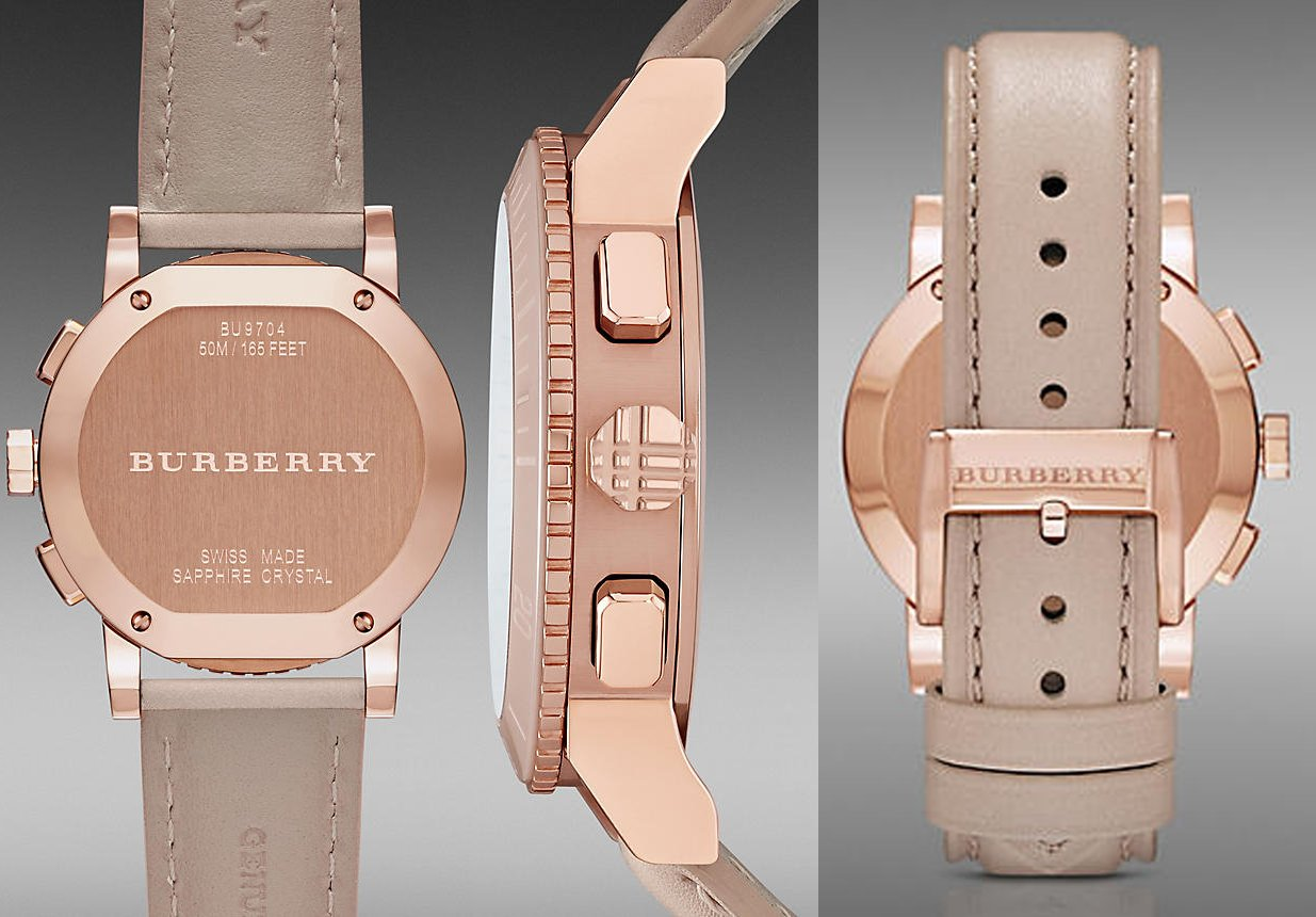 Burberry The City SWISS LUXURY CERAMIC Women 38mm Round Rose Gold Chronograph Watch Nude Leather Band Nude Sunray Date Dial BU9704 by BURBERRY (Image #6)