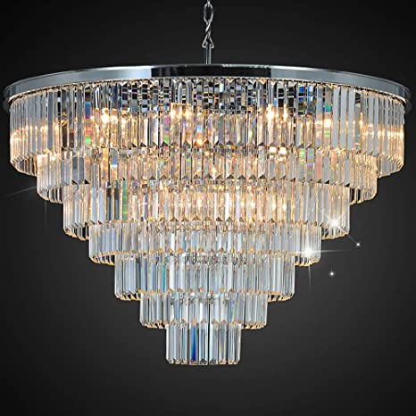 official photos aaf9b 9c26b MEELIGHTING Luxury Crystal Chrome Chandelier Lighting Modern Contemporary  Chandeliers Pendant Ceiling Lamp Light Fixture 7-Tier for Dining Room  Living ...