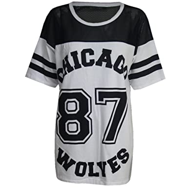 13acd9333fe67 Womens Ladies Chicago 87 Wolves Baggy Oversize Baseball T Shirt Dress Long  Top