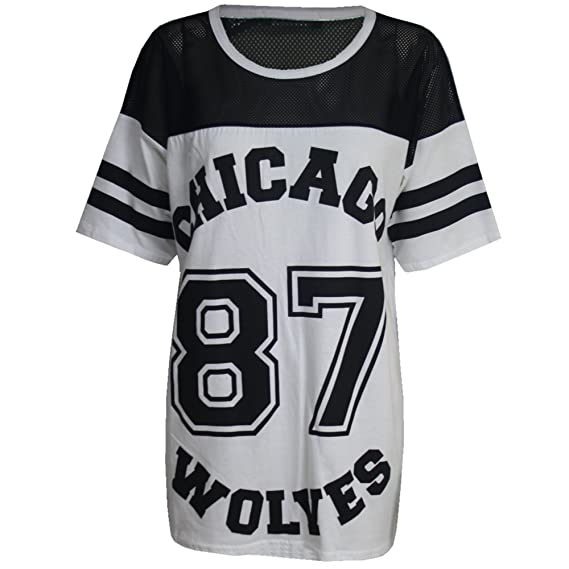 Ladies Womens 85 Varsity Top American Baseball Football Oversized Baggy T-Shirt