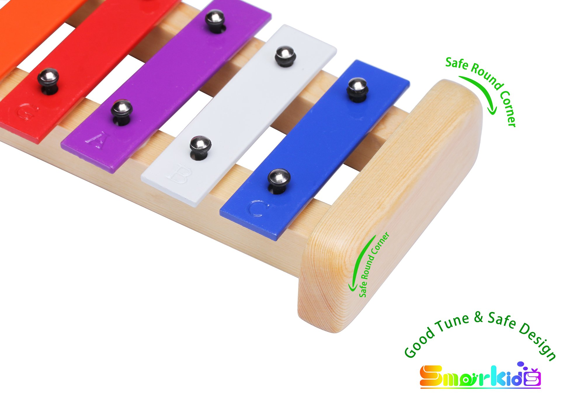 Smarkids Kids Xylophone Wooden Musical Toys Prime 8 Note Metal Keys Glockenspiel and Harmonica Instruments Set with Song Sheet for Toddler, Children, Boys and Girls with Xylophone Mallets by Smarkids (Image #5)