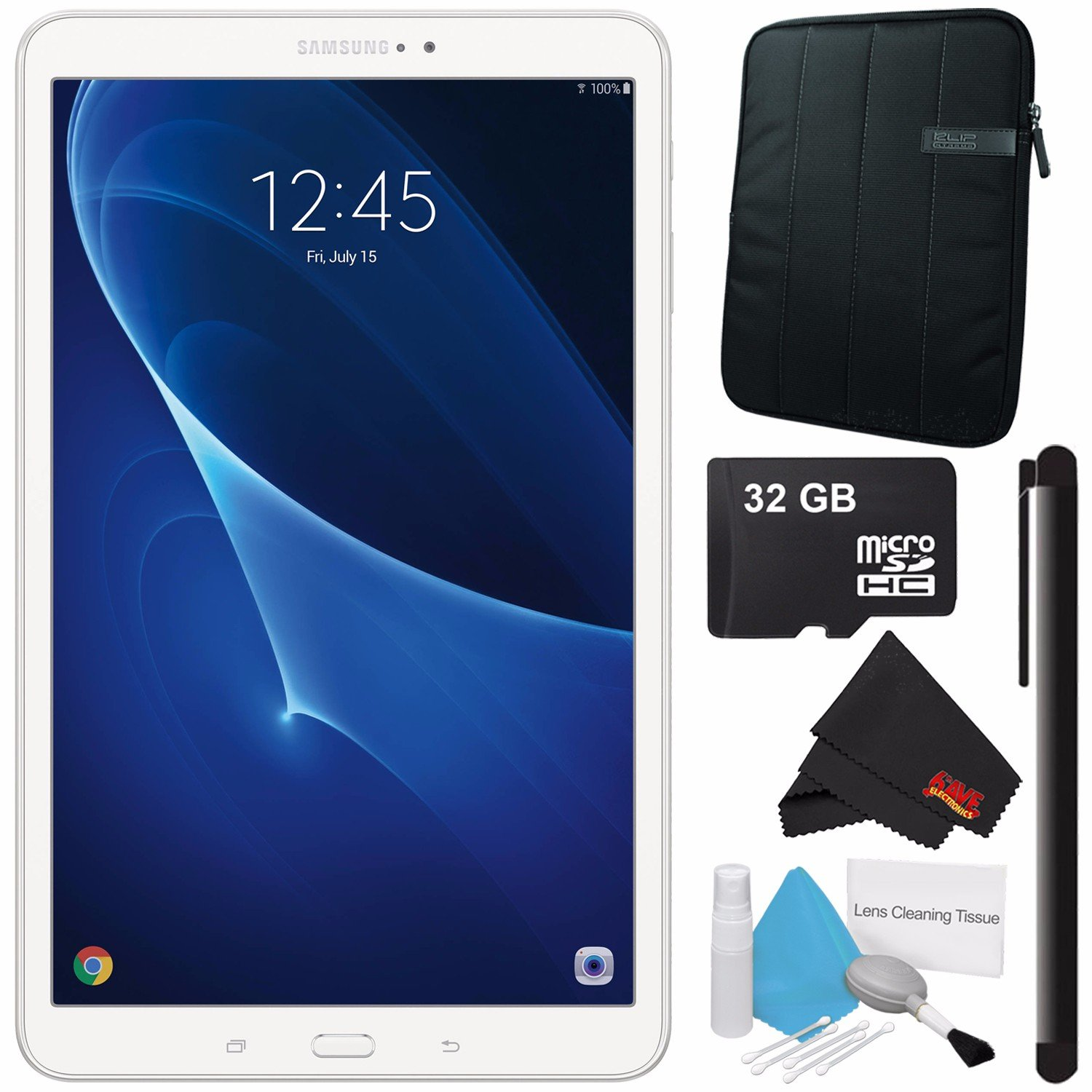 Samsung 10.1'' Galaxy Tab A T580 16GB Tablet (Wi-Fi Only, White) SM-T580NZWAXAR + Universal Stylus for Tablets + Tablet Neoprene Sleeve 10.1'' Case (Black) + 32GB Class 10 Micro SD Memory Card Bundle by Samsung