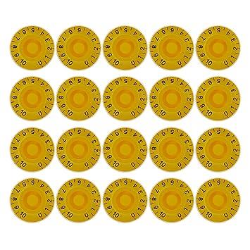 Kmise velocidad Mandos de Control de Gibson Les Paul Guitarra eléctrica partes de repuesto agujas de plástico amarillo Pack de 20: Amazon.es: Instrumentos ...