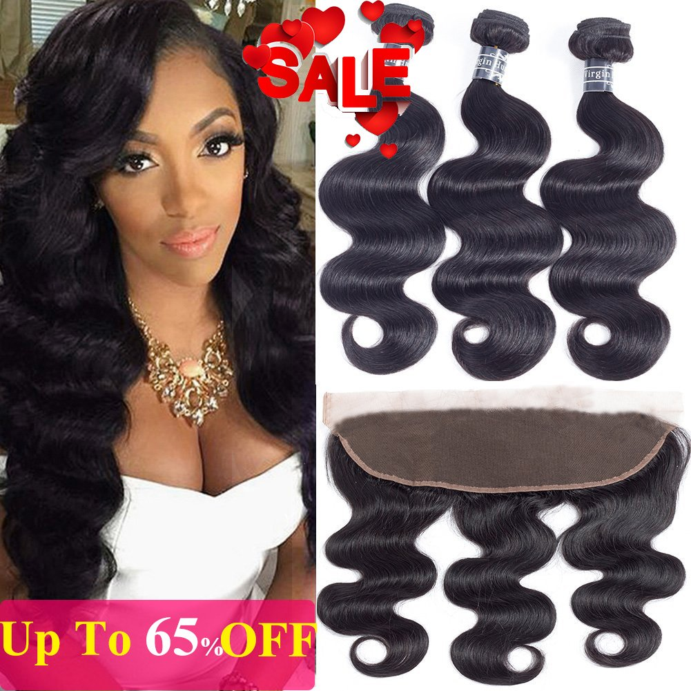 Amella Hair Brazilian Body Wave Frontal with Baby Hair (12 14 16+12 Frontal)100% Unprocessed Brazilian Body Wave Frontal and Bundles Natural Black Color