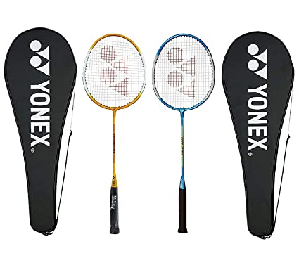 Yonex GR303 Aluminum Badminton Racquet with Cover, Pack of 2  Yellow/Blue