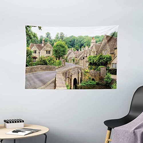 Ambesonne European Tapestry, British Village in England Old Stone Houses and Bridges Historic Street Image, Wide Wall Hanging for Bedroom Living Room Dorm, 60 X 40 , Grey Green