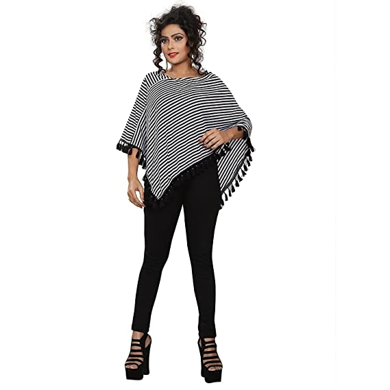 19b3a648eac38e CHAKUDEE Women s Floral Regular fit Top (1-Black and White  Poncho Multi Free Size)