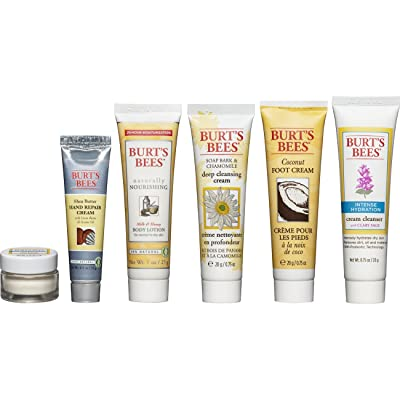 Burt's Bees Fabulous Mini's Travel Set, 6 Travel Size Products - Cream Cleanser, Day Lotion, Deep Cleansing Cream, Body Lotion, Foot Cream and Hand Repair Cream