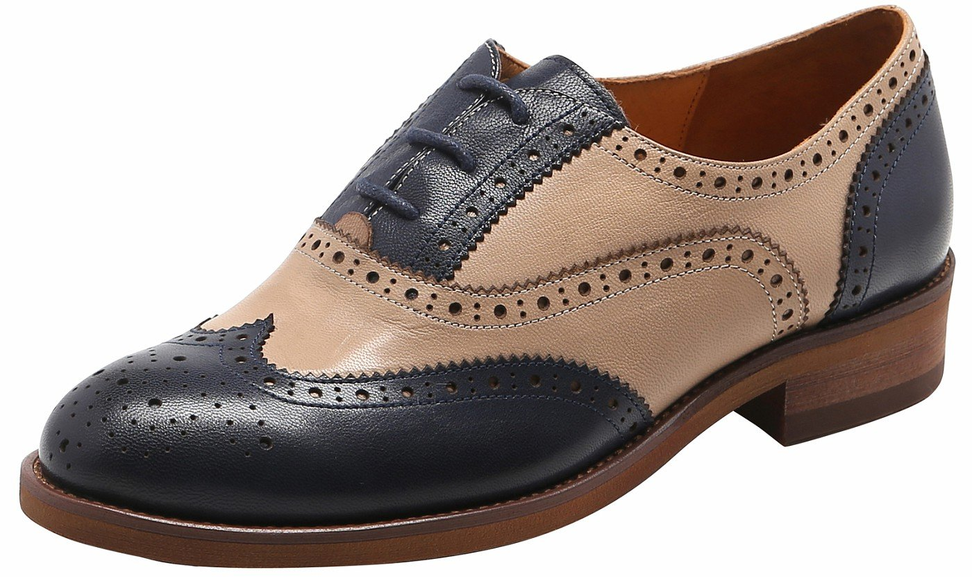 U-lite Navy Biege Perforated Lace-up Wingtip Leather Flat Oxfords Vintage Oxford Shoe Women 8