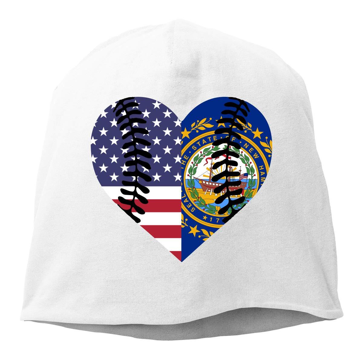 TLPM9LKMBM New Hampshire USA Flag Half Baseball Beanie Skull Cap for Women and Men Winter Warm Knit Hat