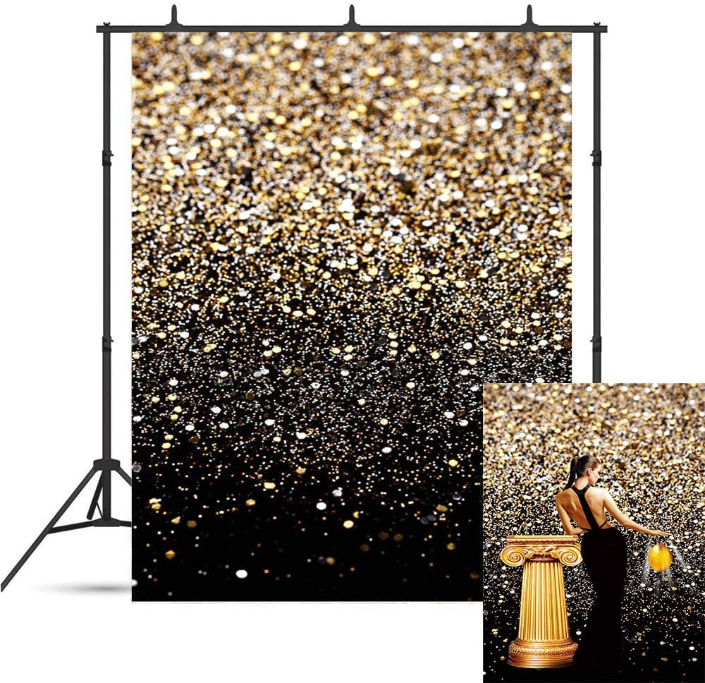 Fanghui Backdrops Golden Glitter Sequin Spot Bokeh and Black Photo Decoration Background Studio Props Booth Vinyl 5x7FT