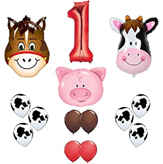 First Birthday Farm Animal Theme Balloons 36 Cow Donkey And Pig With 12