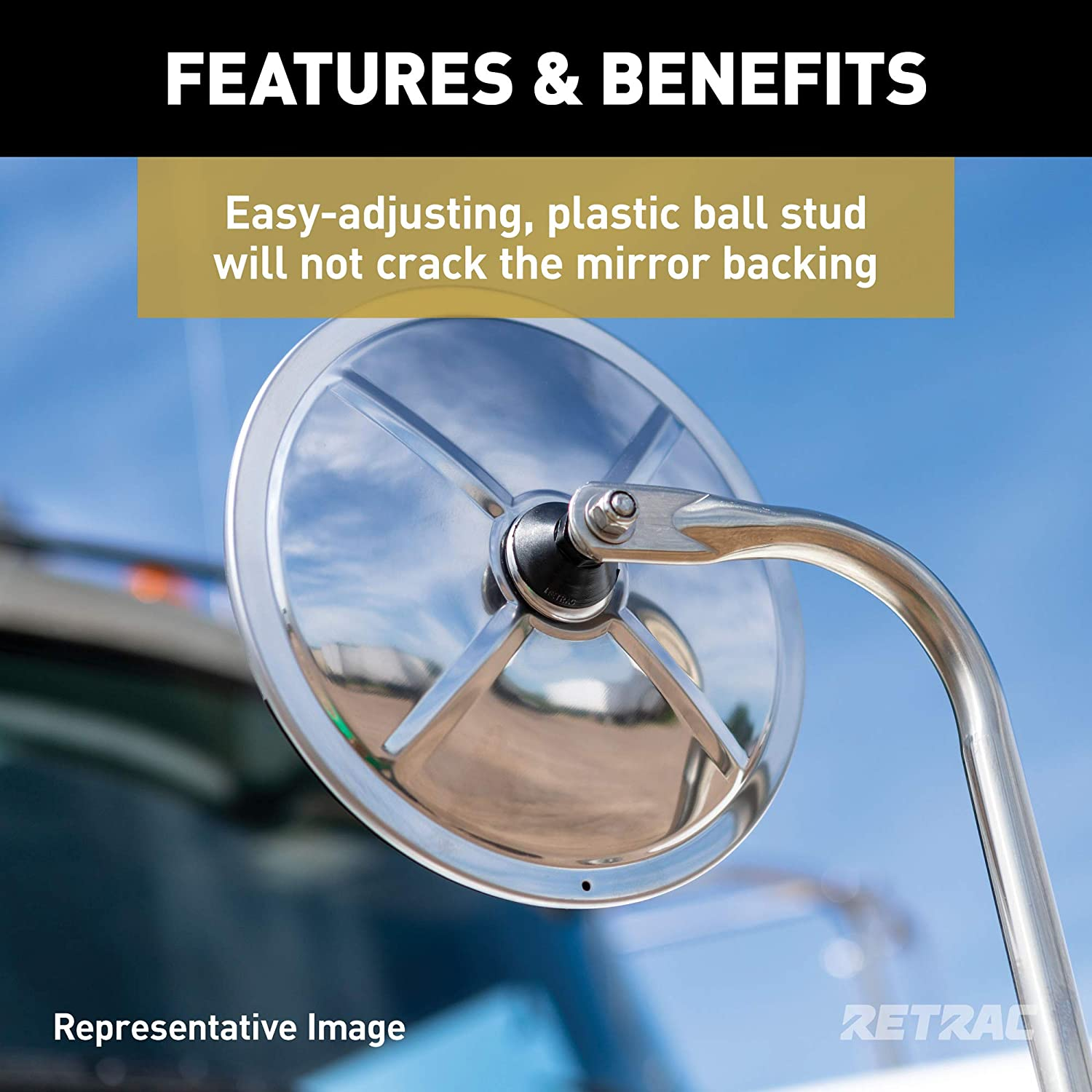 RETRAC 610703 8-Inch Stainless Steel Center-Mount Convex Mirror Head with J-Bracket Universal Driver or Passenger Side