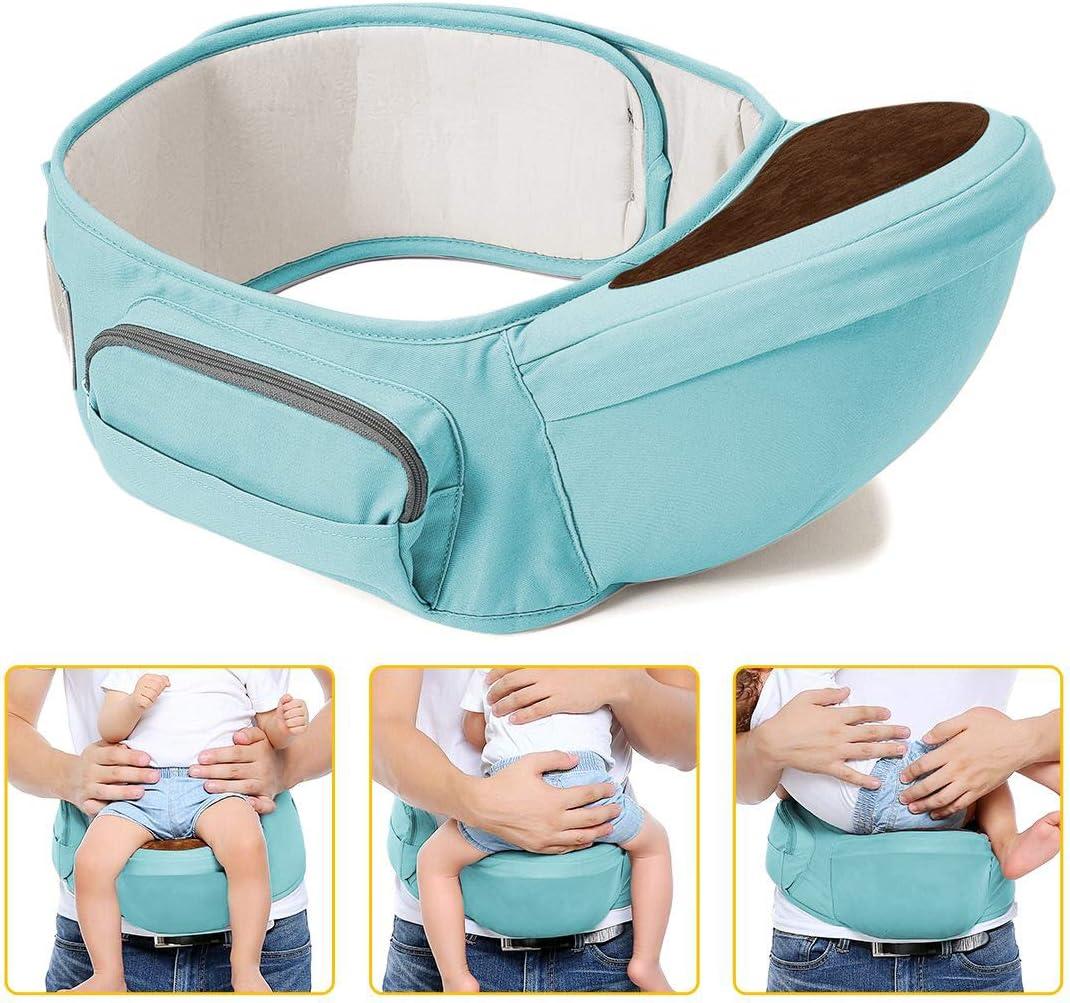 Pur Coton L/éger et Respirant,La longueur maximale de la ceinture est de 49.2 Id/éal pour les nourrissons de 0 /à 36 Mois Wemk Porte-b/éb/é Ventral Tabouret Si/ège de Hanche Ergonomique 3 /à 20 kg -Bleu