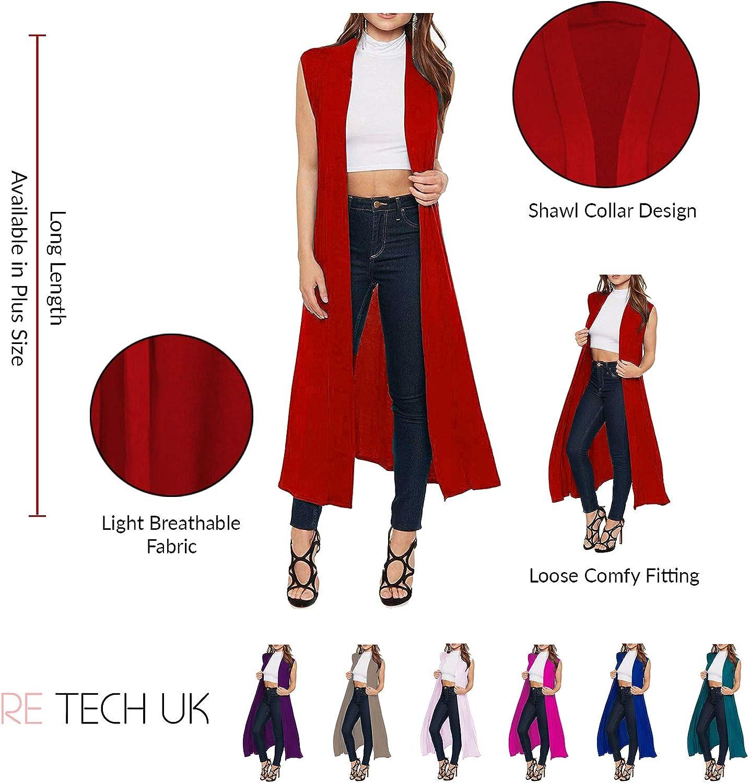 Re Tech UK Maxi Cardigan Senza Maniche con Colletto ed Aperto sul Davanti