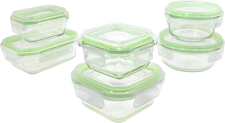 Lot de 6, Vert Mixte Herm/étique Home Fleek sans BPA 6 Couvercles 6 R/écipients Boite Alimentaire en Verre