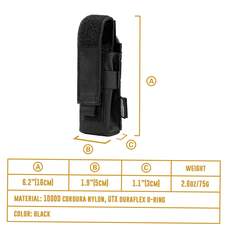 1T Gear 1T L/ámpara Plana 1000d Cordura Nylon Cintur/ón Funda para Linterna hasta 180/mm Longitud