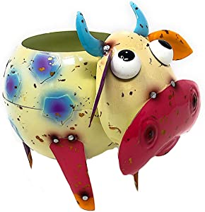 """Mayrich Metal Cow Bull Planter Colorful Succulent Flowers Living Fake Artificial Plants Indoor Outdoor Garden Pot Decor 8""""x 6"""" (White & Blue)"""