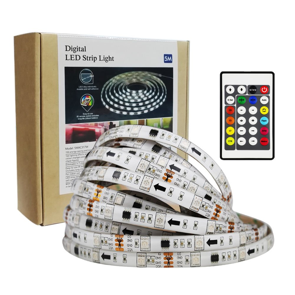 Amazon.com : 16.4ft Addressable Programmable LED Light for Christmas ...