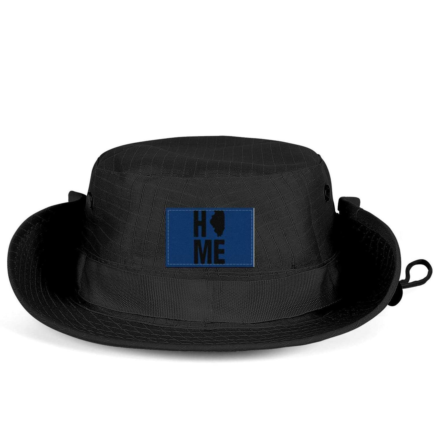 KDNLDP UnisexWoman Illinois Home Sign Black Waterproof Packable Camping Camping Cap Fish hat