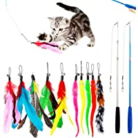 PawPawU Interactive Cat Toys, 12pcs Cat Feather Teaser Toy with 2 Retractable Wand & 10 Bird Feather and Worm…
