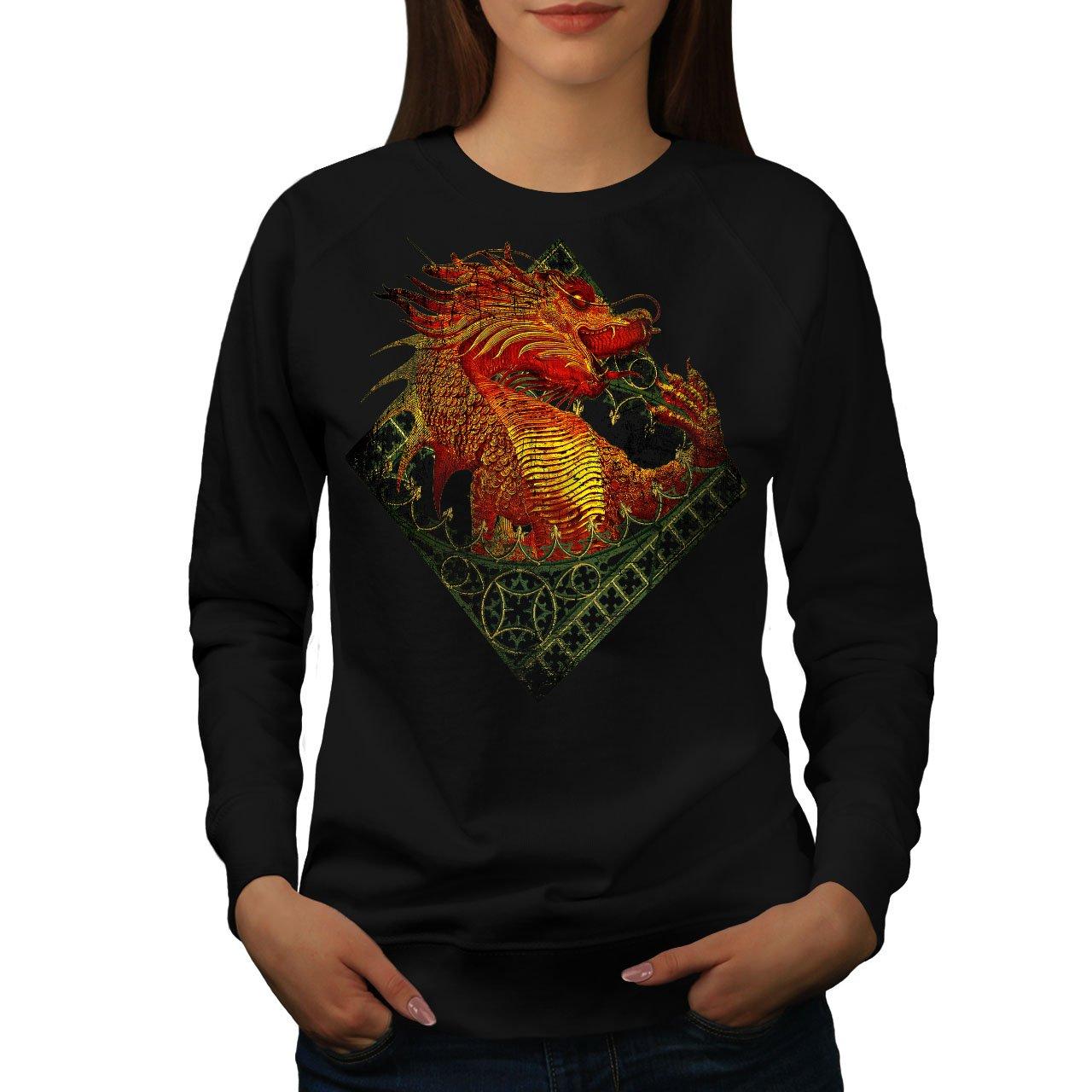 Wellcoda Asian Dragon Womens Sweatshirt, Mythical Print Pullover Jumper