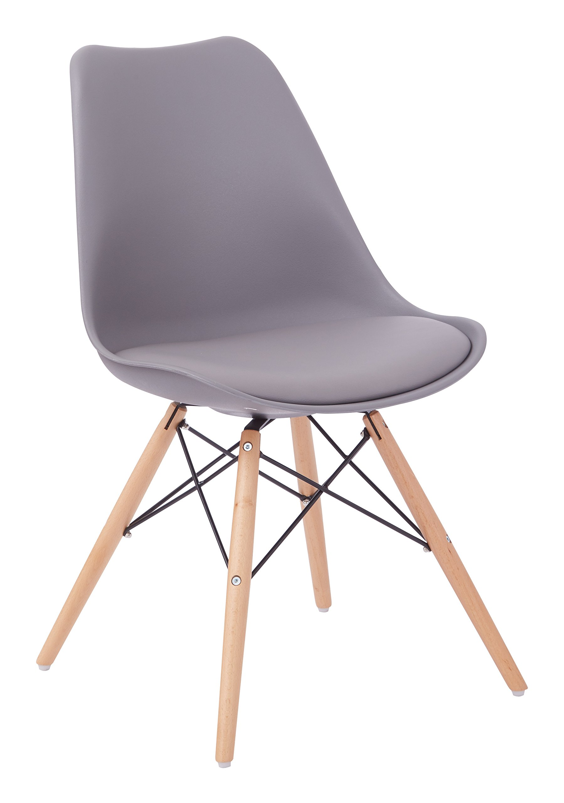 AVE SIX Allen Natural Wood Base and Padded Seat Guest Chair, Grey