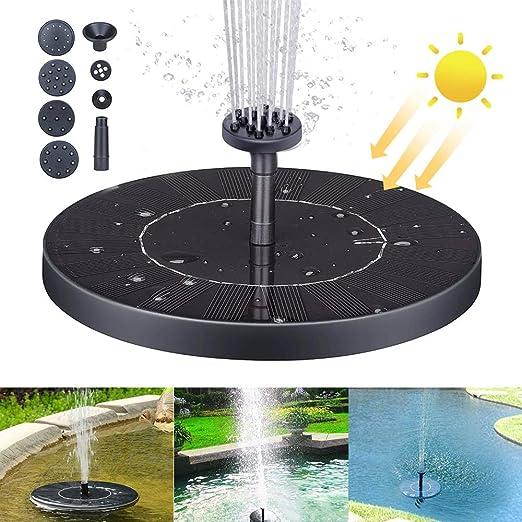 QUTAII Solar Fuente Bomba, 2020 Upgrade Fuente de Jardín Solar Panel y Solar Flotante con 6 boquillas, Bomba de Agua Solar, Solar Fuente Bomba para decoración de jardín, Fuente, Piscina, jardín: Amazon.es: