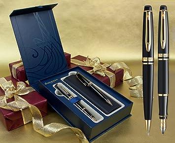 Waterman Expert – Pluma estilográfica y bolígrafo Set – negro laca embellecedor de oro en caja