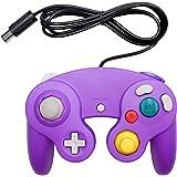 OSTENT Controle de jogo de choque com fio compatível com Nintendo GameCube NGC Video Game cor roxa