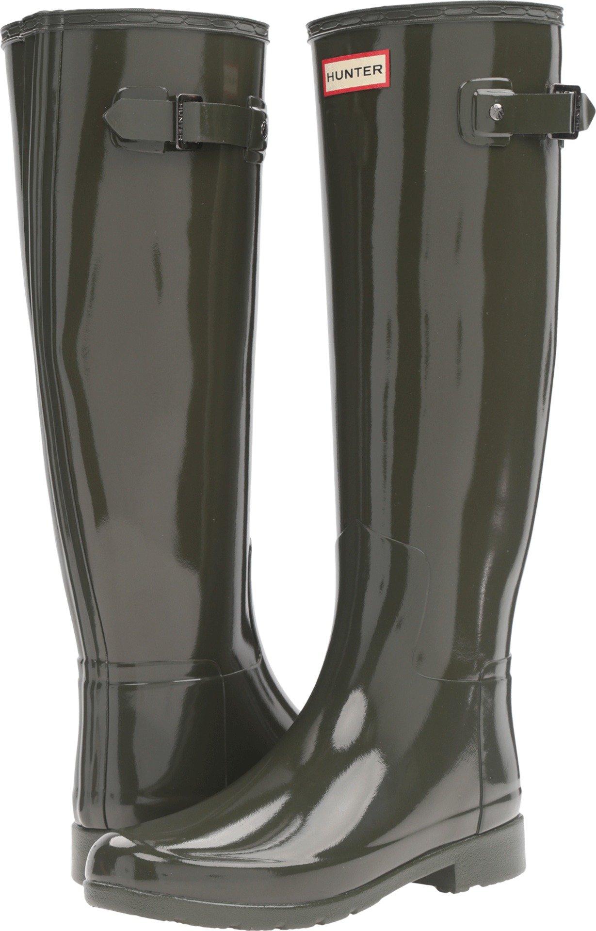 Hunter Women's Original Refined Gloss Rain Boots Dark Olive 11 M US