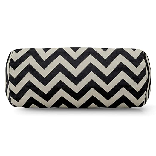 Majestic Home goods negro Zig Zag cojín cilíndrico: Amazon ...