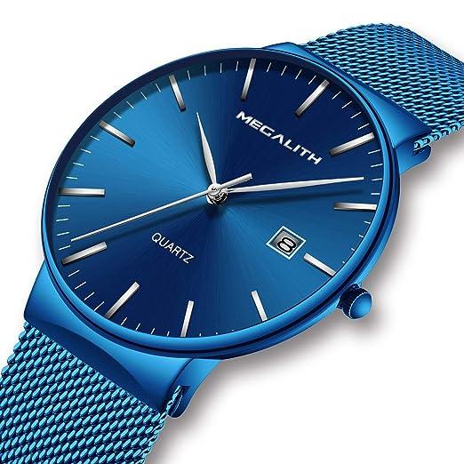 366edd319e12 Relojes de Hombre Relojes de Pulsera Deportivo Impermeable Azul de Malla  Acero Inoxidable Reloj Hombre Fino Casuales Moda Simple de Analógico  Calendario  ...