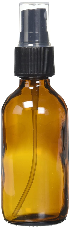 GPS 712OZSPPK12BR Amber Boston Round Glass Bottle with Fine Mist Sprayer 2 oz. Pack of 12