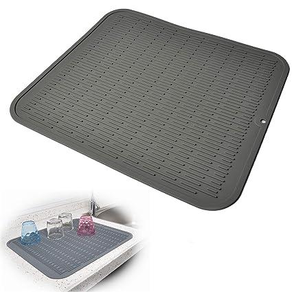 amazon com dish drying mat silicone drying mats for dishes glasses rh amazon com kitchen basics dish drying mat washing instructions kitchenaid dish drying mat