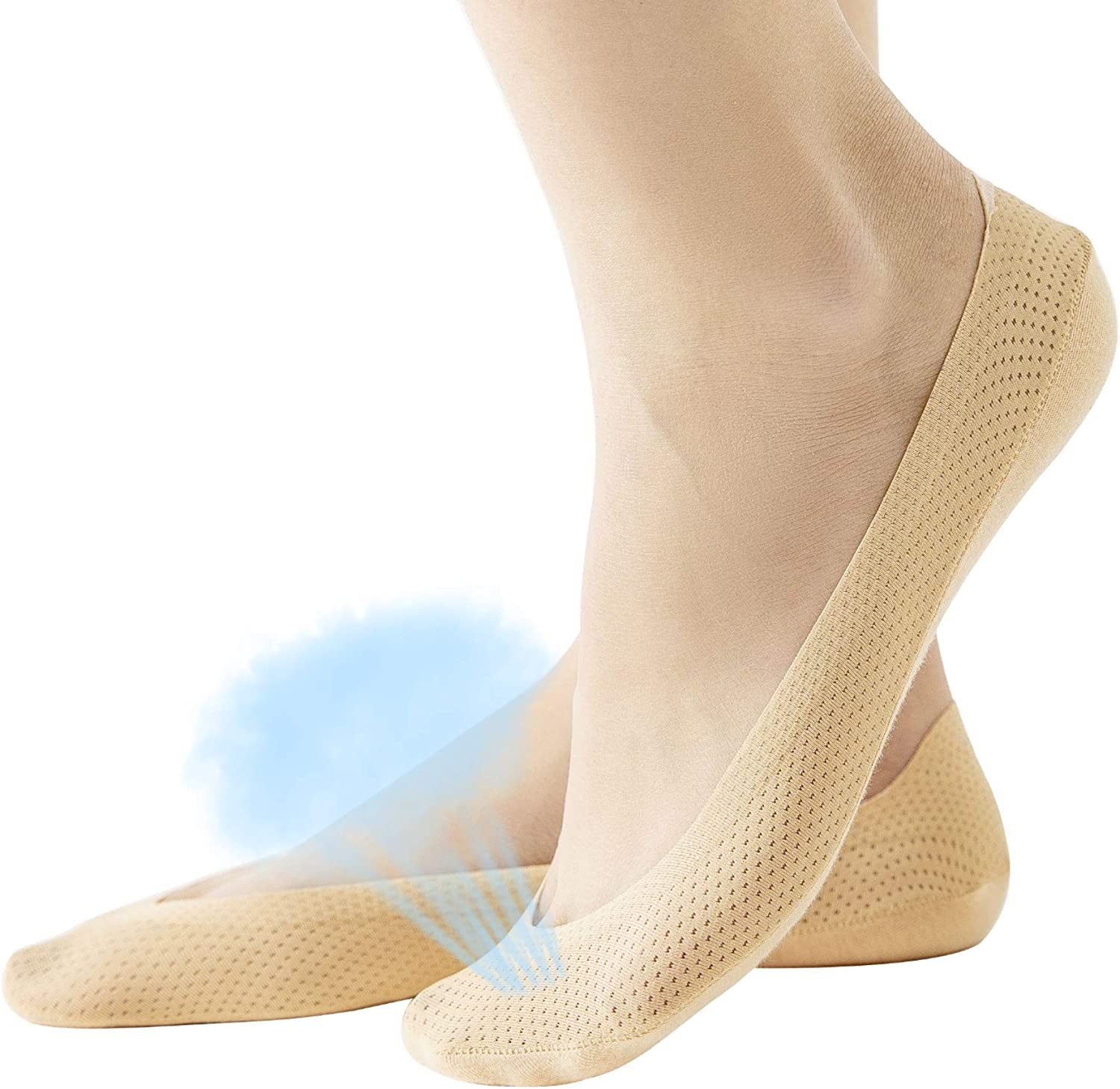 Womens No Show Socks Cotton Nylon Thin Low Cut Liner Non Slip Boat hidden Invisible Socks for Flats Black Nude 4 to 6 pack