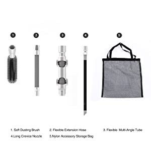 tineco A10 & A11 Accessories KIT: Soft Dusting Brush, Flexible Multi-Angle Tube, Flexible Extension Hose, Long Crevice Nozzle, Nylon Accessory Storage Bag
