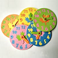 OKASU 5 Pcs Baby Educational Clock Watch Number Letter Jigsaw Puzzle EVA Foam Pad Kids Disassembly Toy