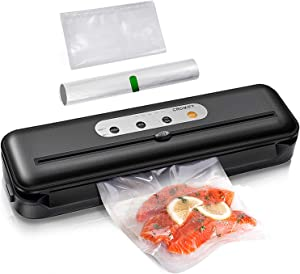 Cromify Vacuum Sealer Machine, Automatic Food Saver with Cutter 80kPa Strong Power One-Touch Safe Operation, Dry Moist Modes, Kit of Rolls&Hose&Replaceable Bags