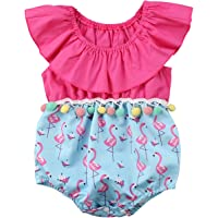 Annvivi Baby Girls Summer Clothes Off-Shoulder Jumpsuit Pompom Flamingo Romper Outfit