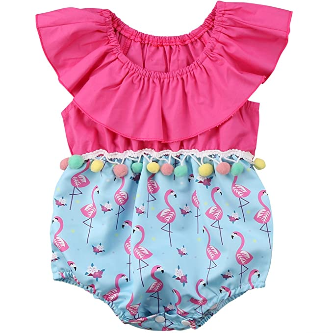 a5620227122 Annvivi Baby Girls Summer Clothes Off-Shoulder Jumpsuit Pompom Flamingo Romper  Outfit (Pink