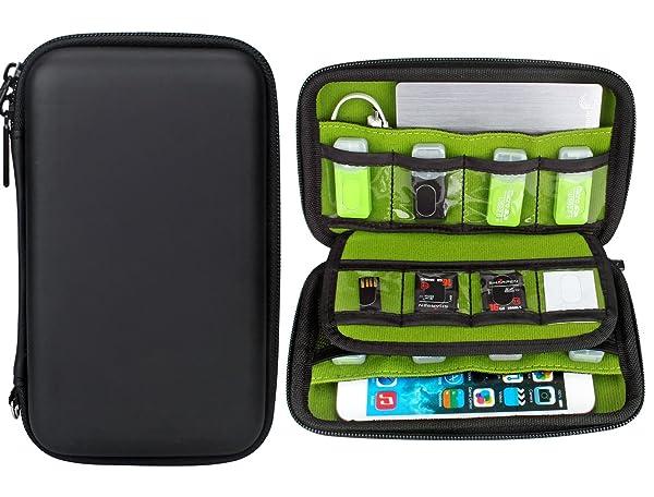 Aprince Digital Gadget Case Waterproof Memory Card Case,Designed For External Hard Drive,USB Flash Drives,Power Banks - Best for Traveling (Color: Black, Tamaño: 17.5*10*4cm)