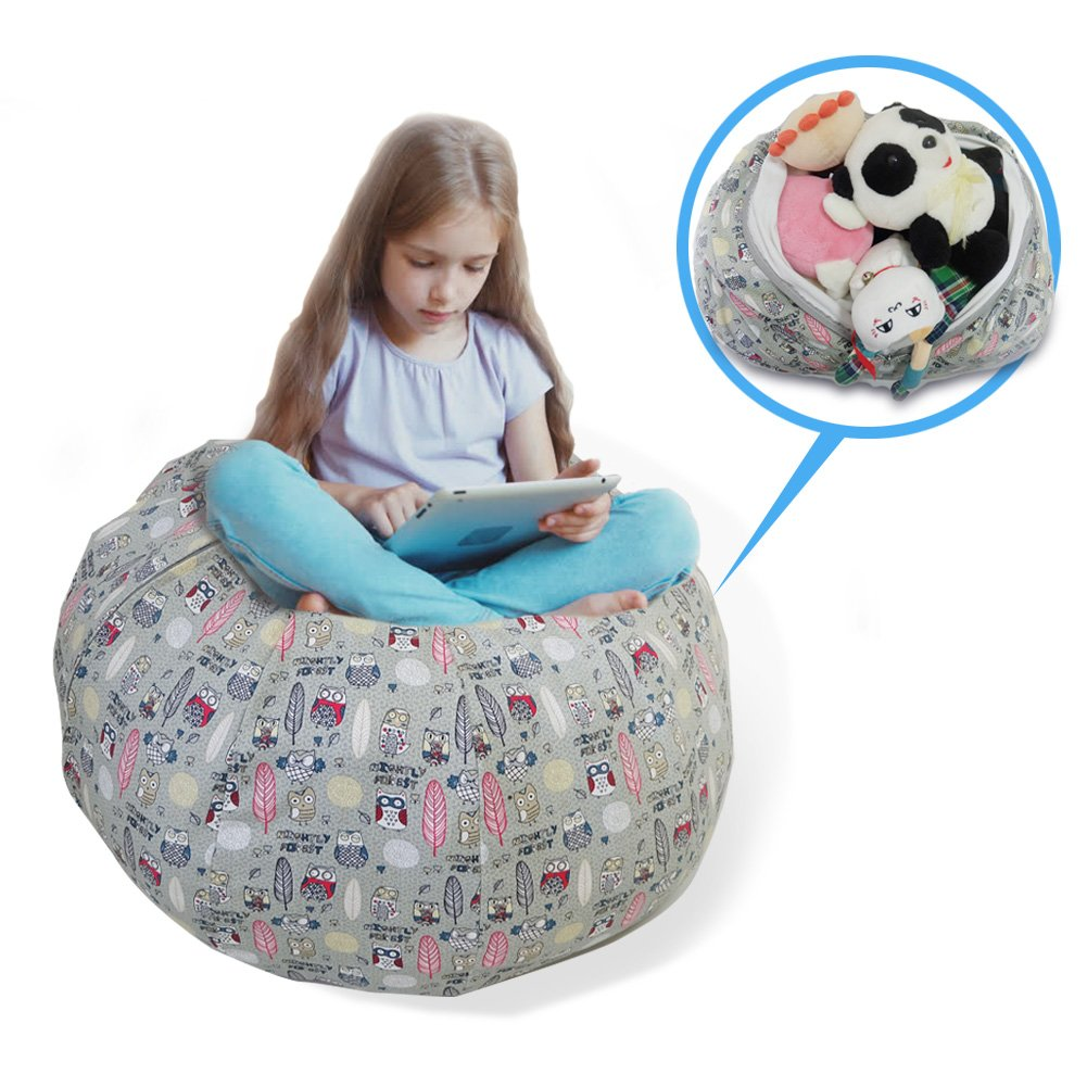 Stuffed Animal Storage Bean Bag Chair - Large Size 30 inch Cotton Canvas Children's Plush Toy Organizer Storage Bag (Gray) by Childmate (Image #1)