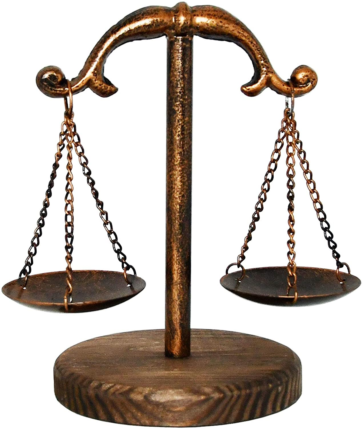 Owlgift Vintage Style Metal Libra Jewelry Display Tray w/Wooden Base Cosmetic Organizer Storage, Lawyer Scale of Justice, Farmhouse Candleholder, Home Décor Antique Weight Balancing Scale – Bronze